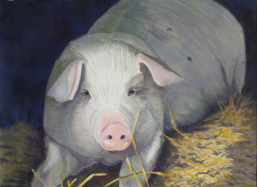 Pig Painting - Petunia by Ally Benbrook