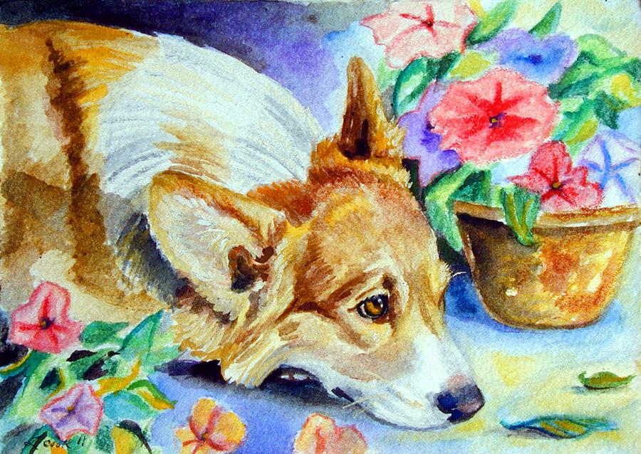 Pembroke Welsh Corgi Painting - Petunias - Pembroke Welsh Corgi by Lyn Cook