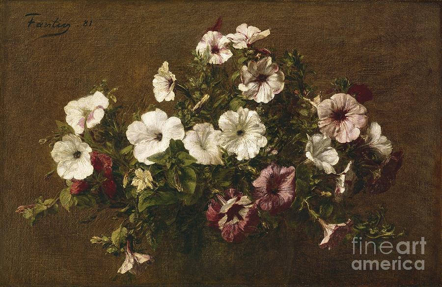 Petunias Painting - Petunias by Ignace Henri Jean Fantin-Latour