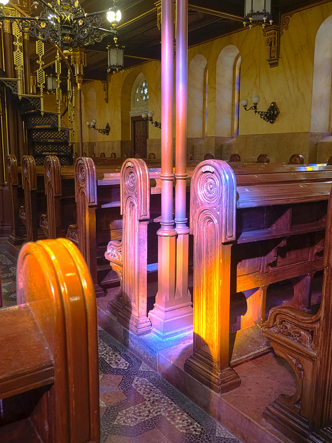 Church Photograph - Pews Under Stained Glass by C H Apperson