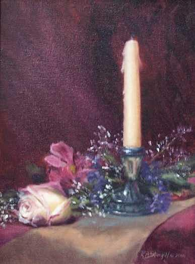 Pewter And Rose Painting by Ruth Ann Sturgill