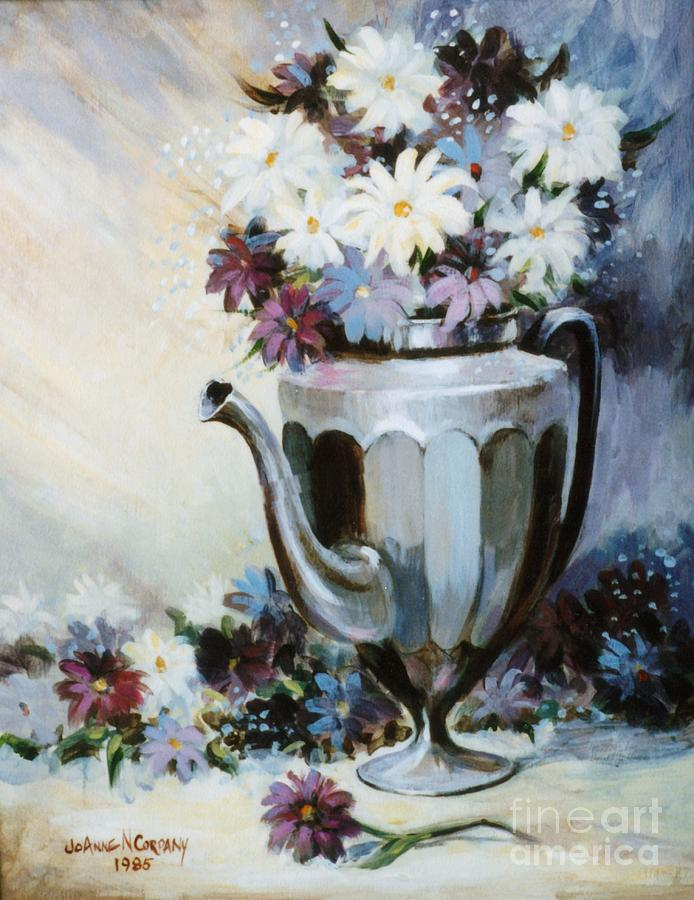 Pewter Painting - Pewter Coffee Pot And Daisies by JoAnne Corpany