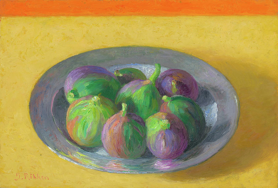 Fruit Painting - Pewter Plate With Figs by Ben Rikken