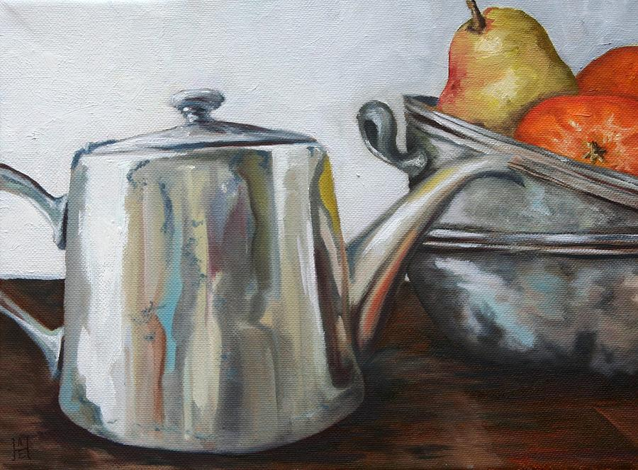 Pewter Painting - Pewter Teapot And Bowls by Amy Higgins