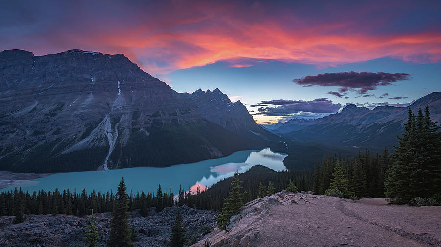 Alberta Photograph - Peyto Lake At Dusk by William Freebilly photography