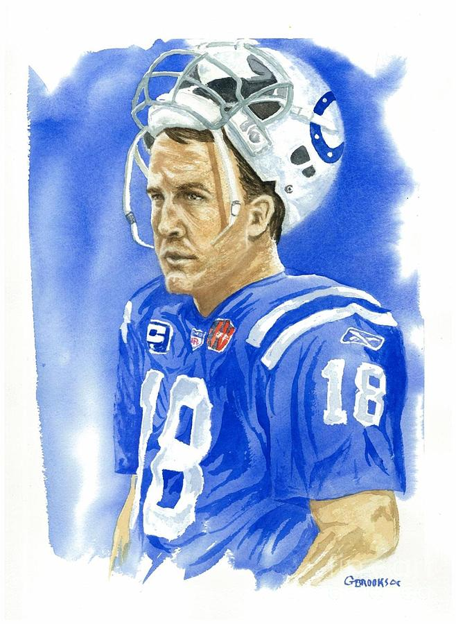 Peyton Manning Painting - Peyton Manning - Heart Of The Champion by George  Brooks