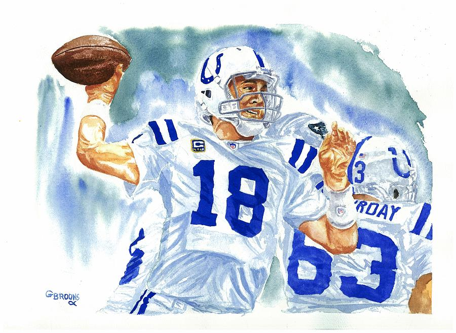 Nfl Paintings Painting - Peyton Manning - The Technician by George  Brooks