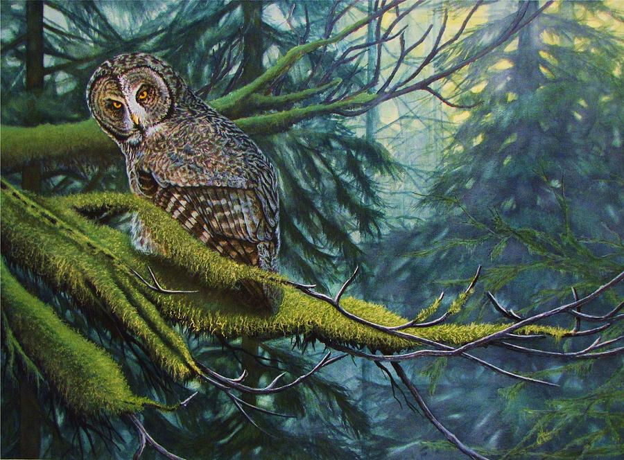 Owl Painting - Phantom Of The North by Greg and Linda Halom