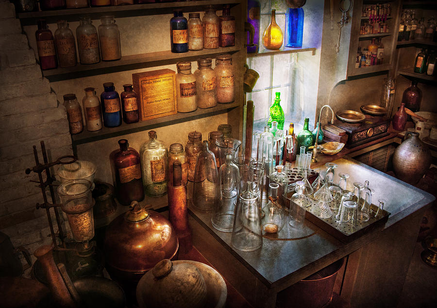 Hdr Photograph - Pharmacist - A Little Bit Of Witch Craft by Mike Savad