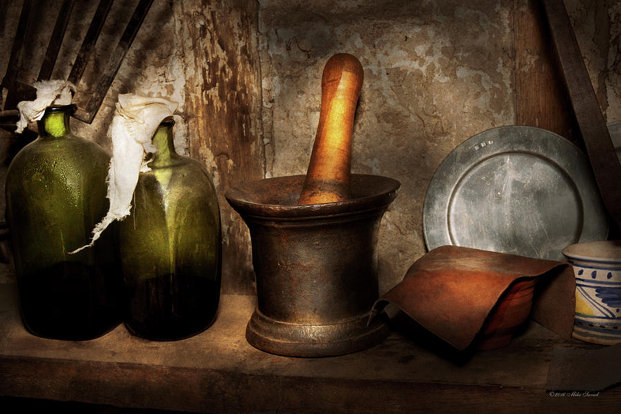 Pharmacist Photograph - Pharmacy - Pestle - Home Remedies by Mike Savad