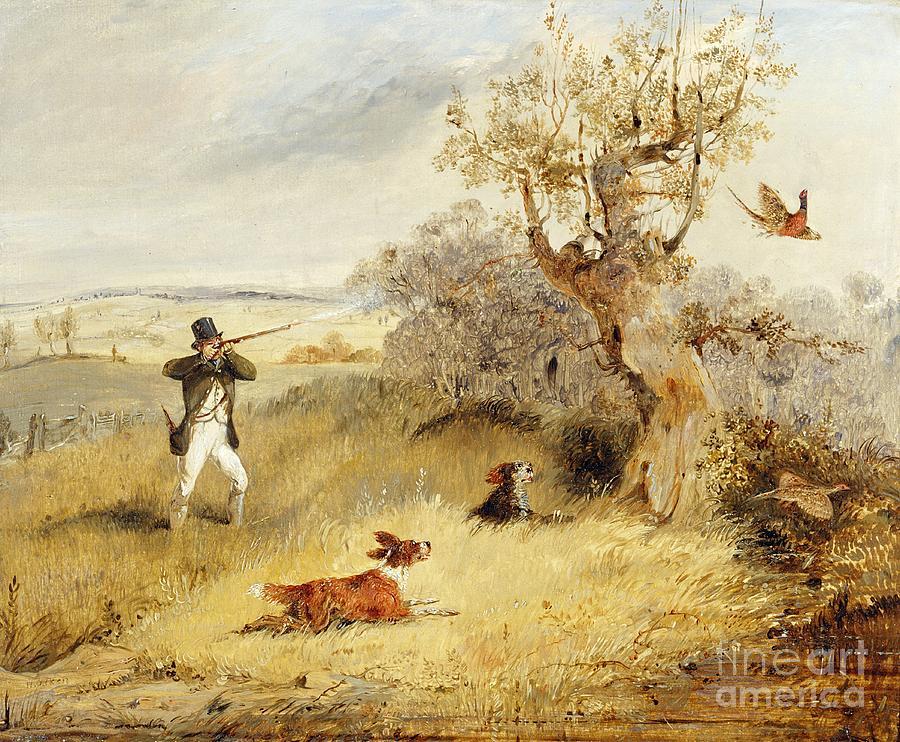 Pheasant Painting - Pheasant Shooting by Henry Thomas Alken