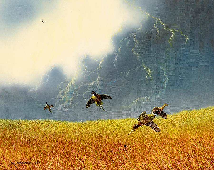 Pheasants Painting - Pheasants On The Rise by Don Griffiths
