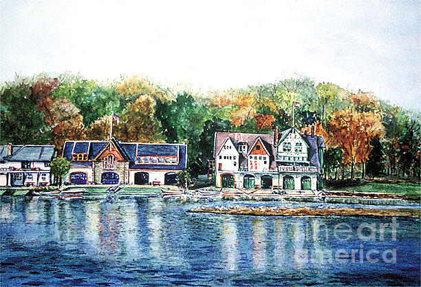 Landscape Painting - Philadelphia Boathouse Row by Joyce A Guariglia