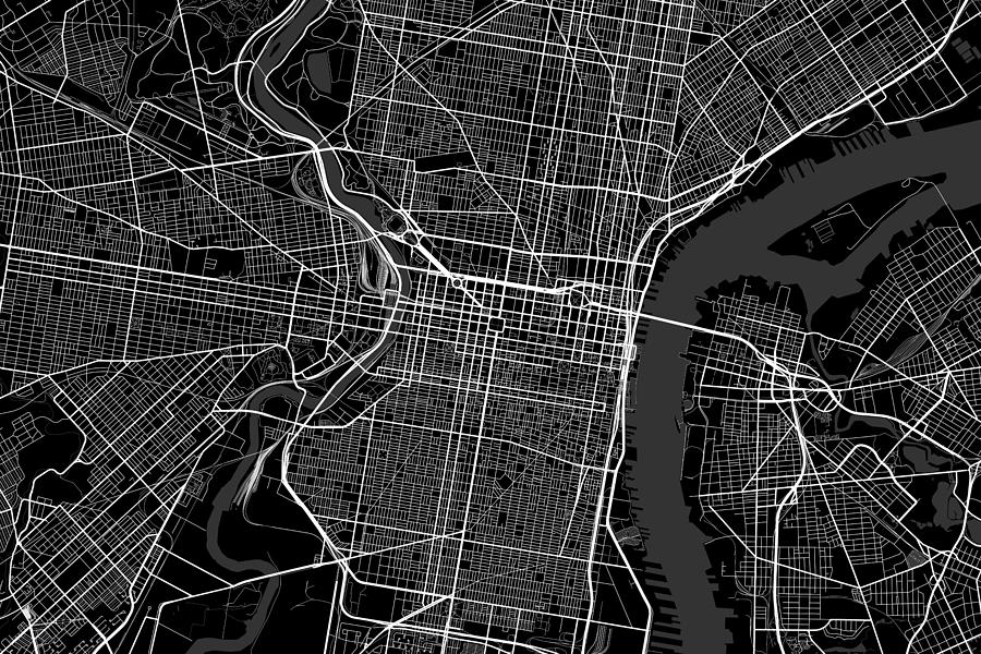Line Art Usa Map : Philadelphia pennsylvania usa dark map digital art by jurq studio