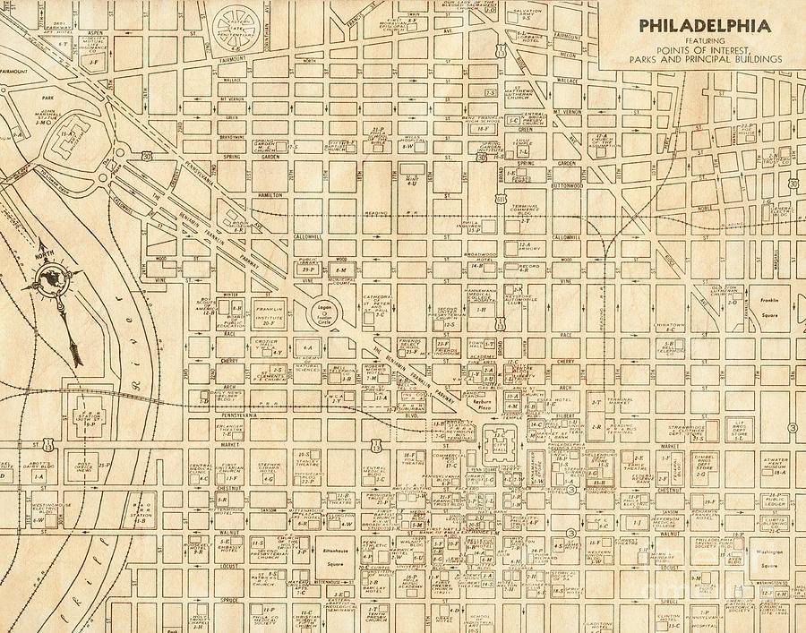 Vintage Philadelphia Map Philadelphia Pennsylvania Vintage Antique City Map Photograph by