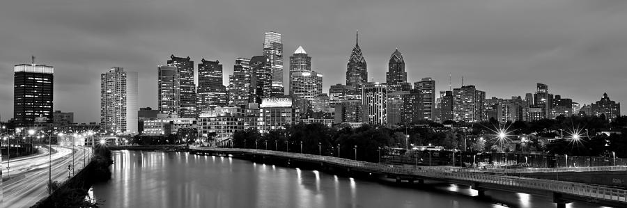 Philadelphia Philly Skyline at Dusk from near South BW Black and White Panorama by Jon Holiday