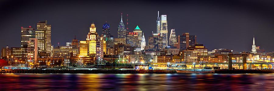 Philadelphia Skyline At Night Photograph - Philadelphia Philly Skyline at Night from East Color by Jon Holiday