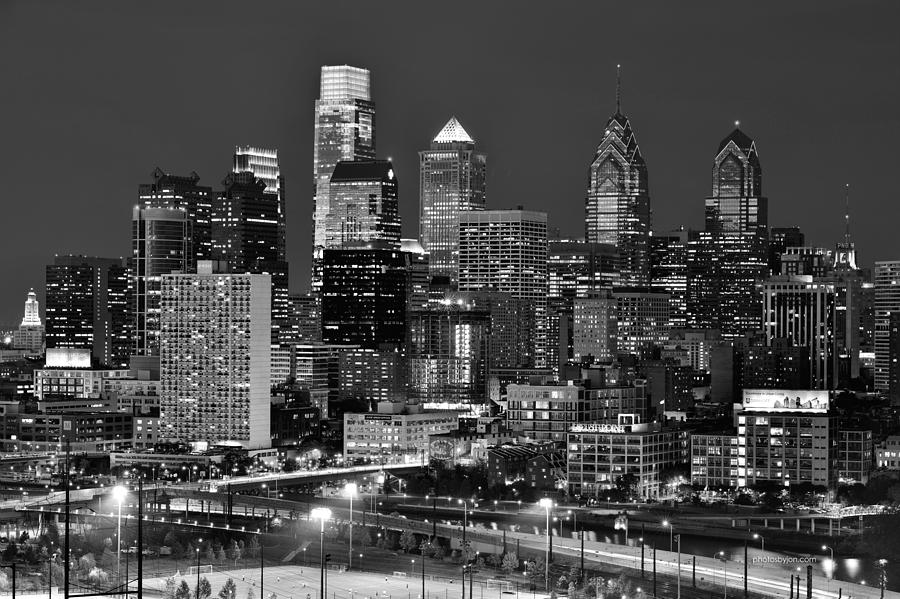 Philadelphia Skyline At Night Black And White Bw Photograph By Jon