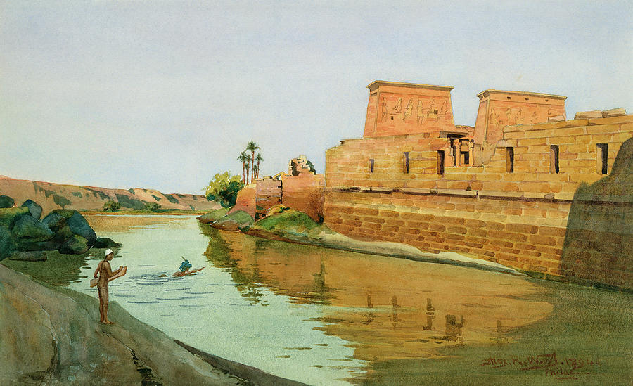 Temple Complex; River; 3rd Century Bc; Philae On The Nile Painting - Philae On The Nile by Alexander West