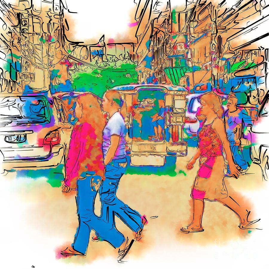 Asia Drawing - Philippine Girls Crossing Street by Rolf Bertram