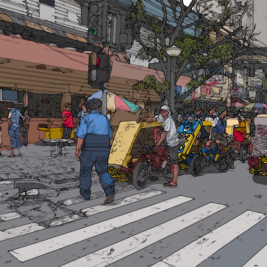 Philippines Painting - Philippines 906 Crosswalk by Rolf Bertram