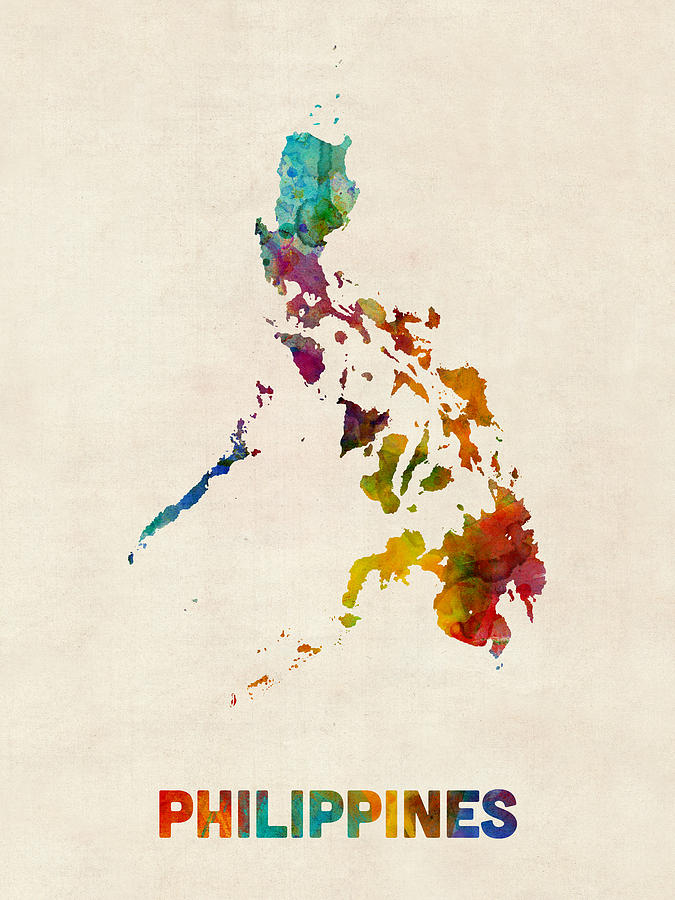 Philippines Watercolor Map Digital Art By Michael Tompsett