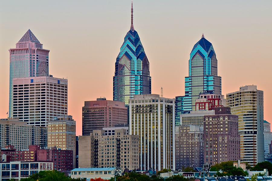 Philadelphia Photograph - Philly At Sunset by Frozen in Time Fine Art Photography