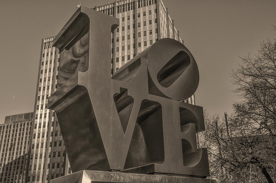 Philly Photograph - Philly Esque  - Love Statue In Sepia by Bill Cannon