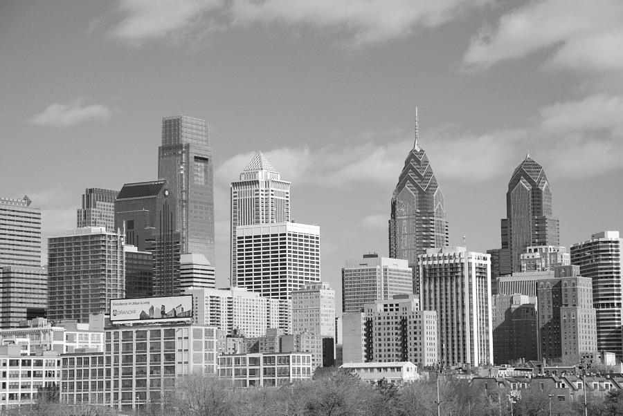 Philadelphia Photograph - Philly Skyscrapers Black And White by Jennifer Ancker