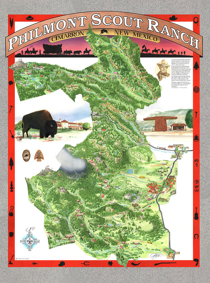 Philmont New Mexico Map.Philmont Scout Ranch Poster Art Painting By Philippe Plouchart