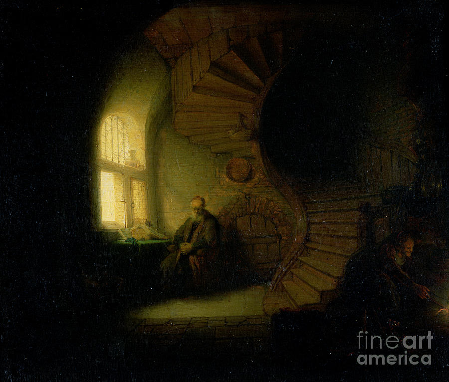 Rembrandt Painting - Philosopher in Meditation by Rembrandt