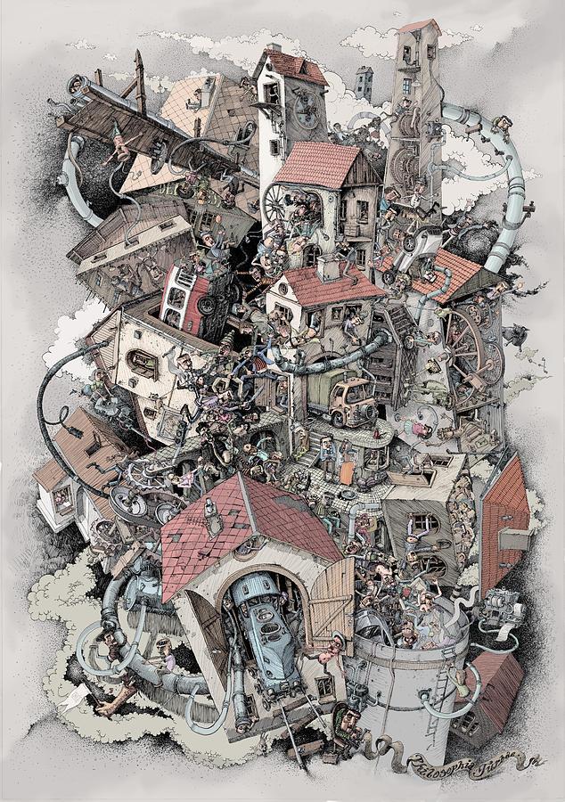 People Drawing - Philosophia Turbae by Tom Koval