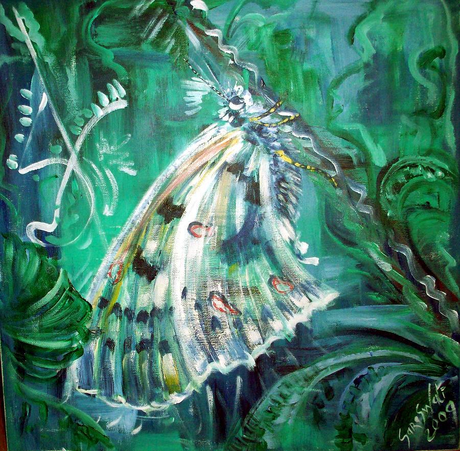 Butterfly Painting - Phoebus Parnassian by Helene  Champaloux-Saraswati