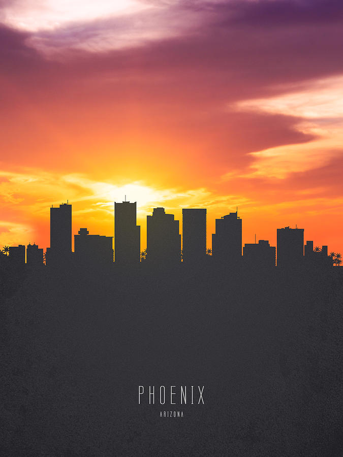 Phoenix Arizona Sunset Skyline 01 Painting By Aged Pixel