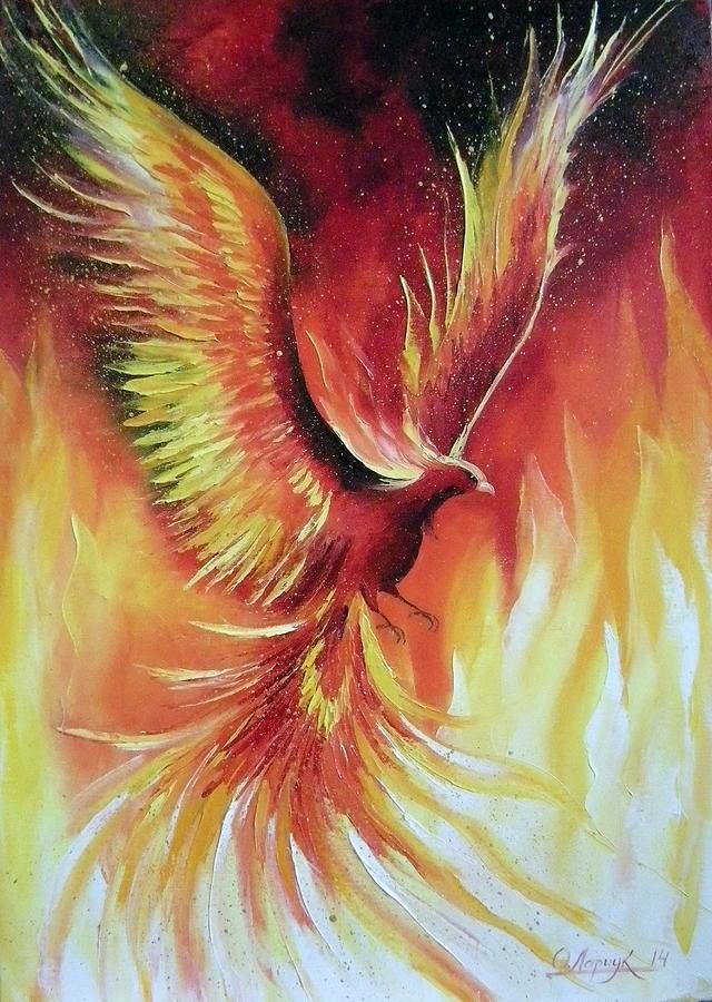 phoenix bird painting by olha darchuk