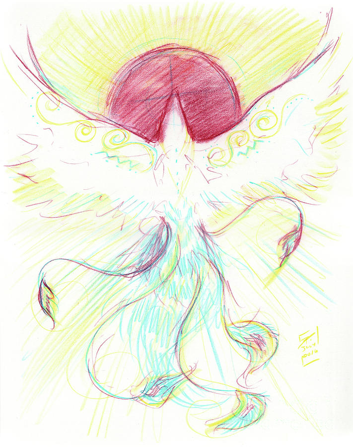 Phoenix Drawing - Phoenix Sun by Brandy Woods