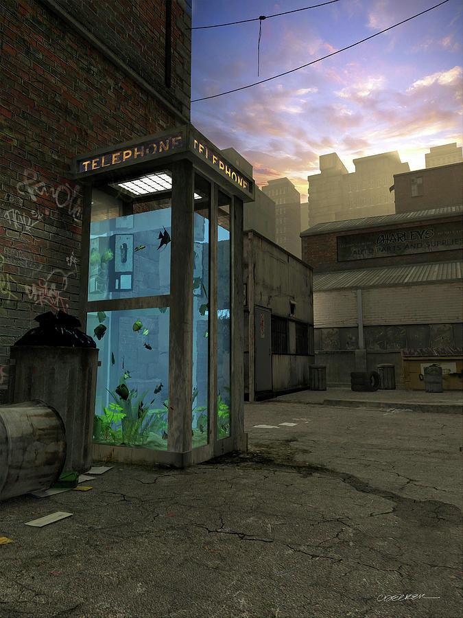Telephone Digital Art - Phone Booth by Cynthia Decker