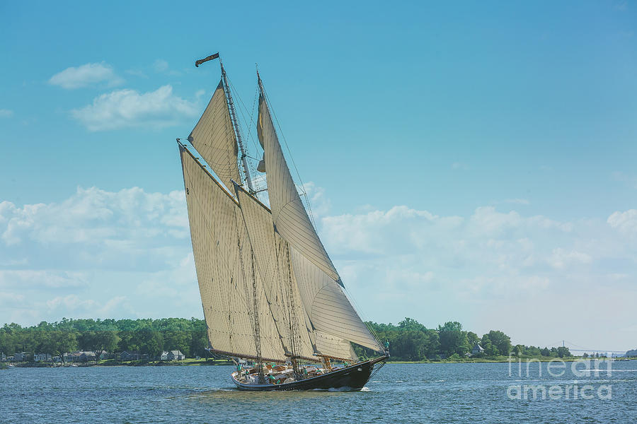 Schooner under sail by Jean Kirby