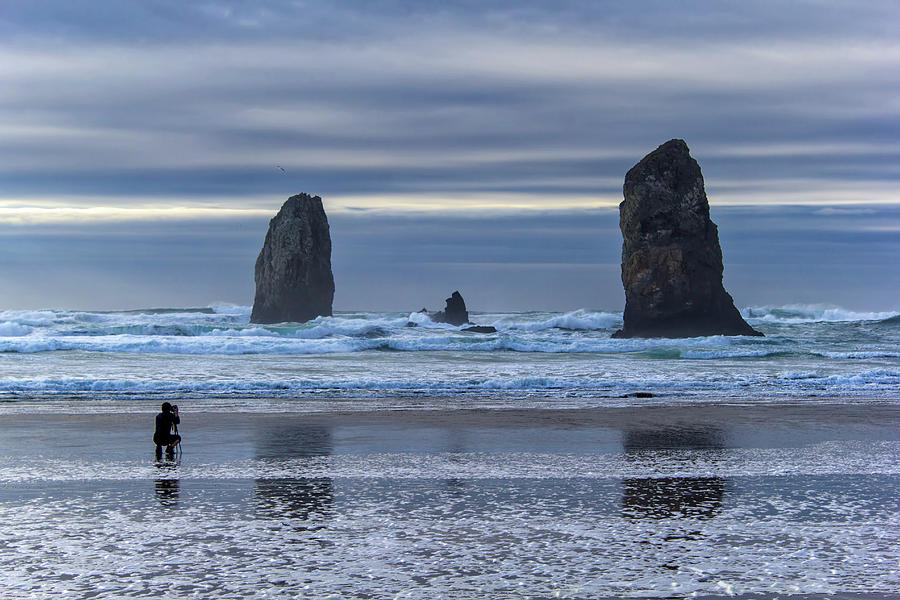 Cannon Beach Photograph - Photographer At Cannon Beach by David Gn