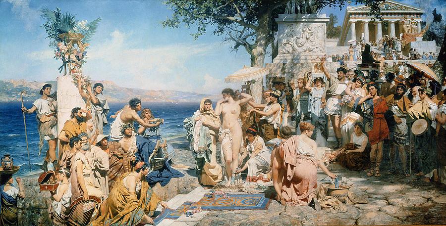 Phryne At The Festival Of Poseidon In Eleusin (oil On Canvas) By Henryk Siemieradzki (1843-1902) Painting - Phryne At The Festival Of Poseidon In Eleusin by Henryk Siemieradzki