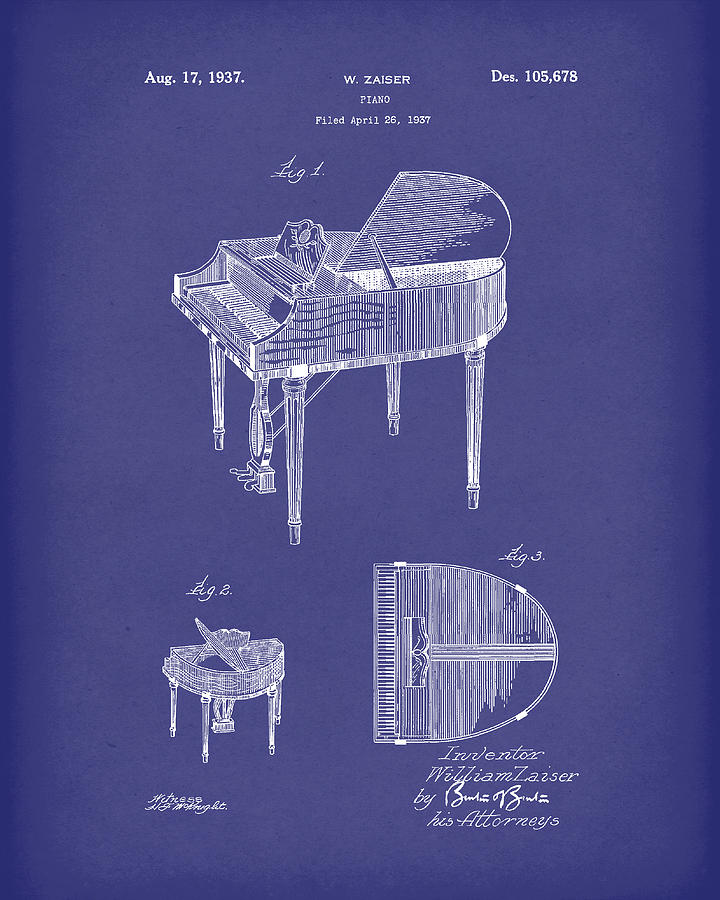 Piano 1937 Patent Art Blue by Prior Art Design