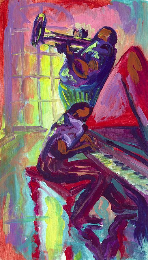 Piano Painting - Piano And Trumpet by Saundra Bolen Samuel