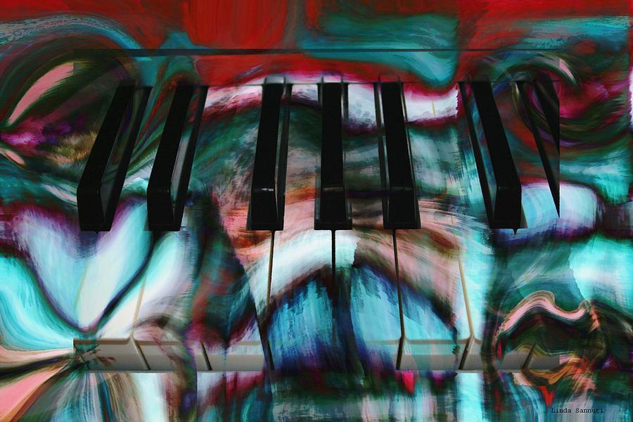 Digital Painting Digital Art - Piano Colors by Linda Sannuti