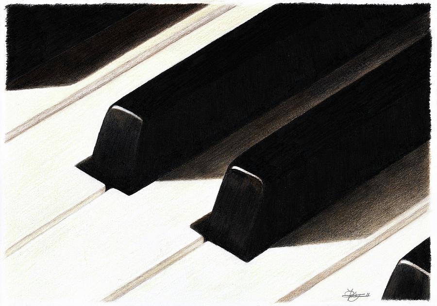 Piano Keys Drawing - Piano Keys by Jeanne Delage