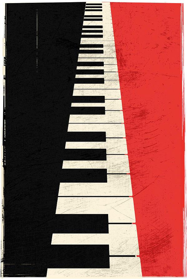 Black And Red Digital Art - Piano keys by IamLoudness Studio