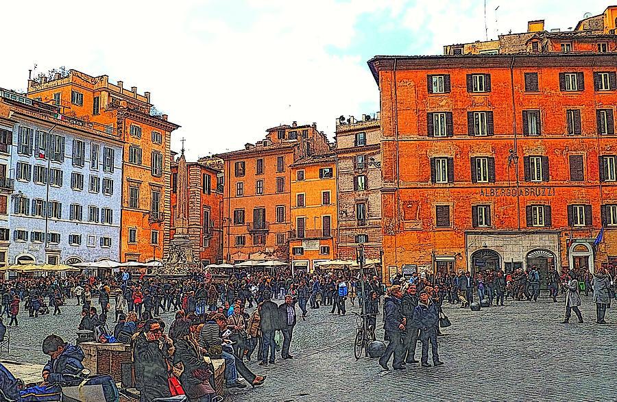 Rome Photograph - Piazza Della Rotunda In Rome 2 by Jen White