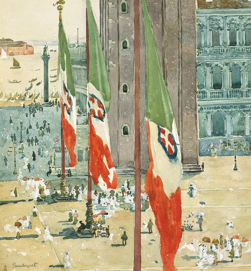 Piazza Di San Marco Painting - Piazza Di San Marco by Maurice Brazil Prendergast