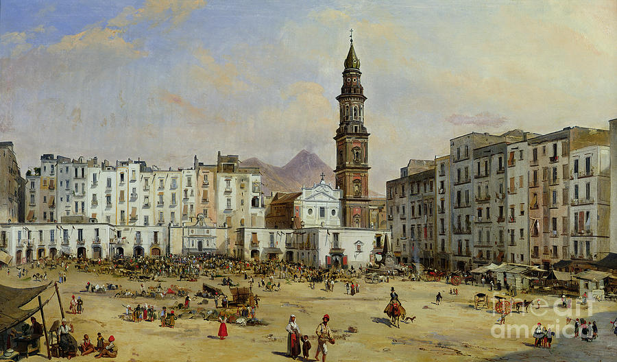 Piazza Painting - Piazza Mazaniello In Naples by Jean Auguste Bard