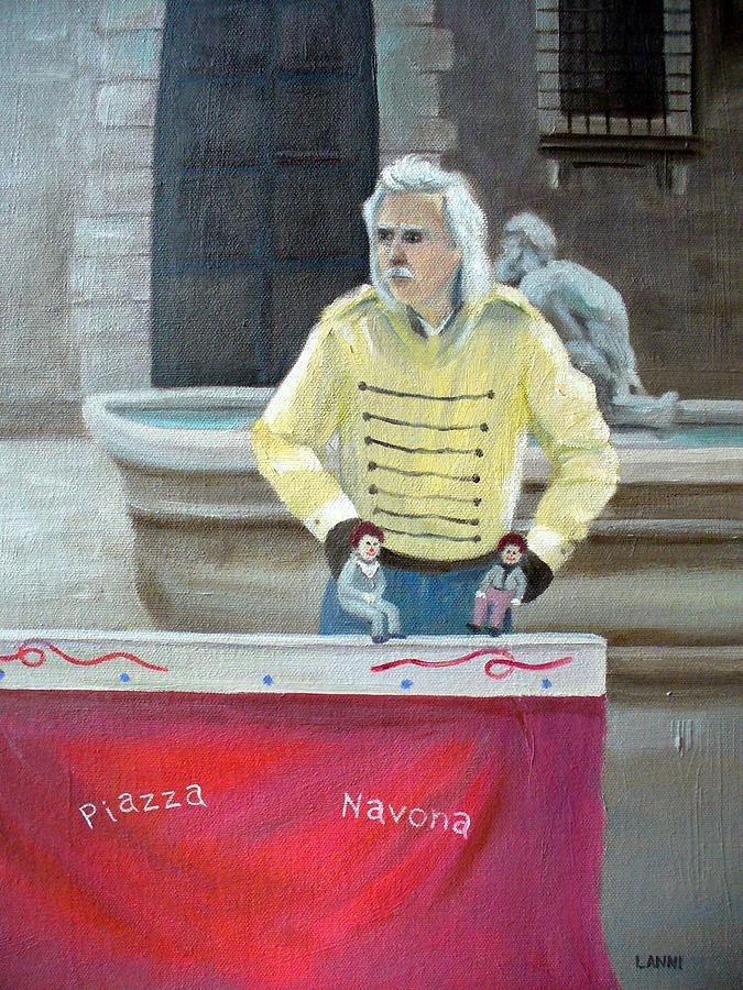 Italy Painting - Piazza Puppeteer by Joe Lanni