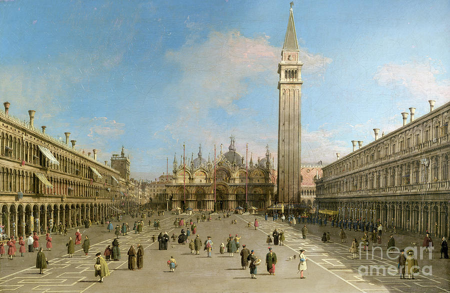Canaletto Painting - Piazza San Marco Looking Towards The Basilica Di San Marco  by Canaletto